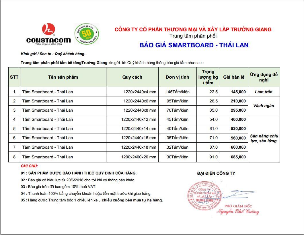 báo giá tấm Smartboard SCG Thái Lan 2018