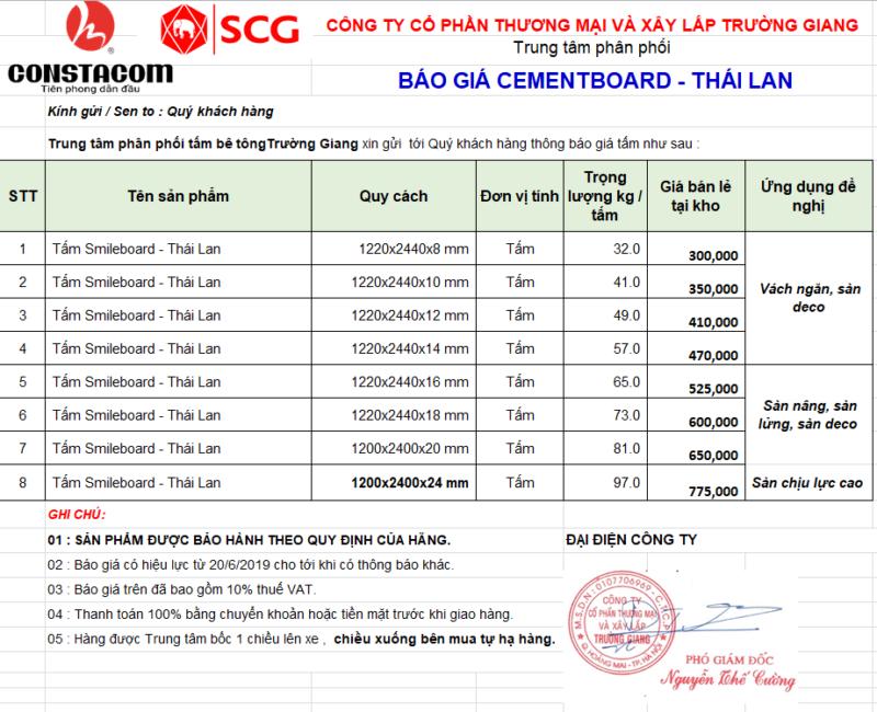 báo giá tấm bê tông nhẹ cemboard Thái Lan